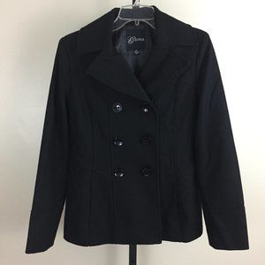 GUESS Wool Blend Double-breasted Pea Coat Jacket